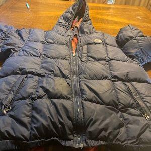 Navy Blue Plaid Reversible North Face Boys Coat